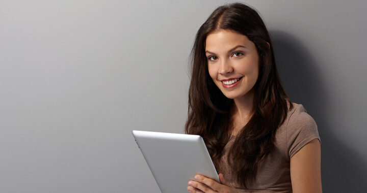 Online university student with tablet